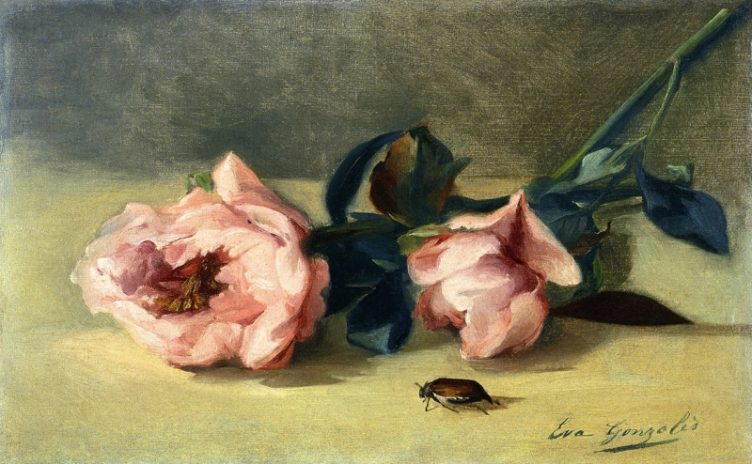 "Artwork by Eva Gonzales - ""Peonies and June Bug"""